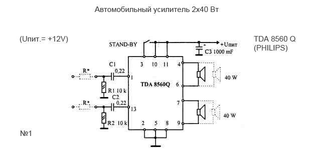 Усилитель звука автомобильный 2 по 40 Вт благодаря своей новой микросхеме TDA 8560 Q (PHILIPS) может выдержать...