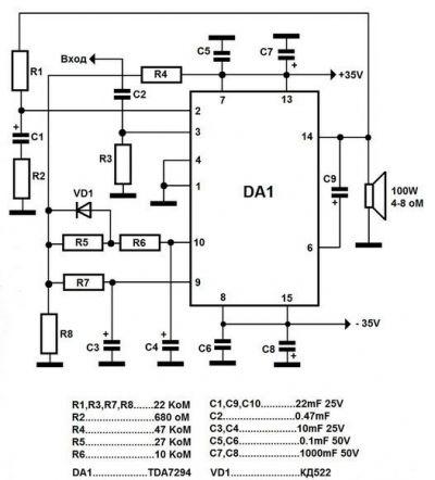 Усилитель звука на TDA7294