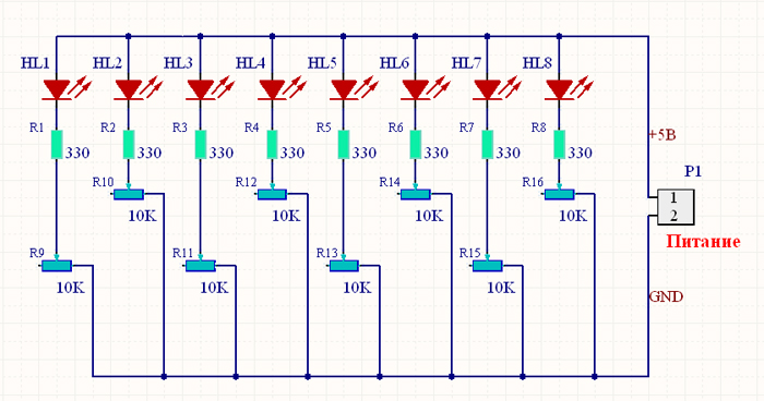 Схема LED-тестера.