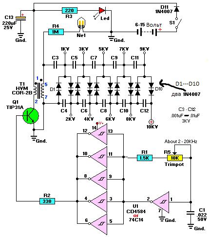 Линия наружного освещения схемы
