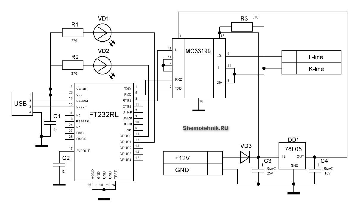 Адаптер для диагностики автомобилей семейства ВАЗ Usb диагностика авто схема