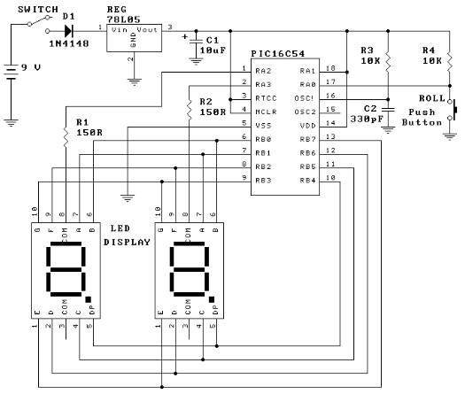 Схема электронной кости на