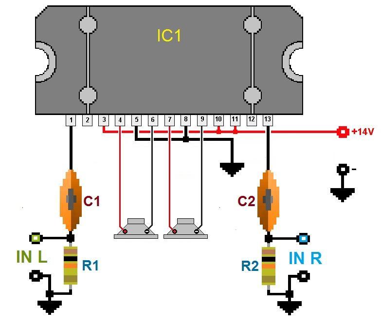 Схема усилителя на TDA 8560 Q