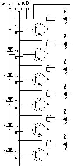 Светодиодный индикатор уровня сигнала схема 894