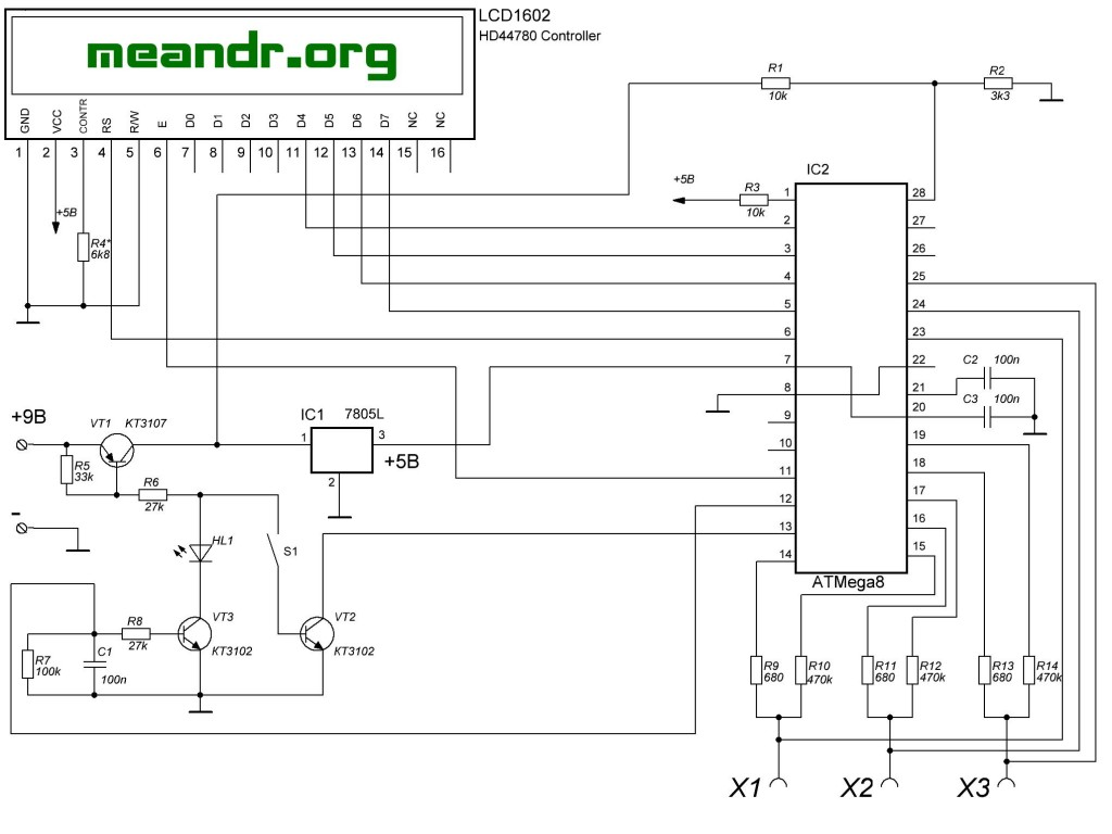 Схема тестер транзисторов на atmega328