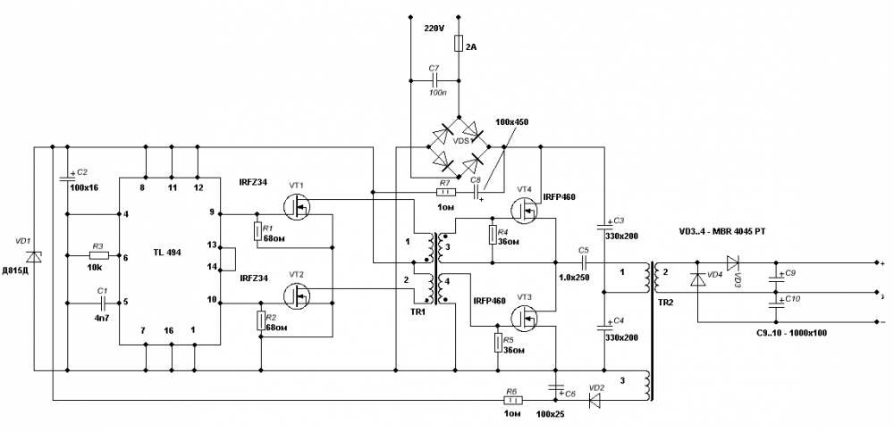 Схема простого меандр