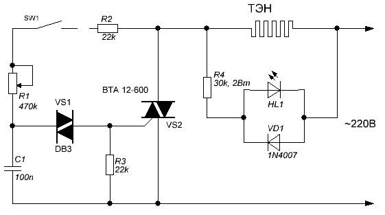 Терморегулятор для тэна Схема