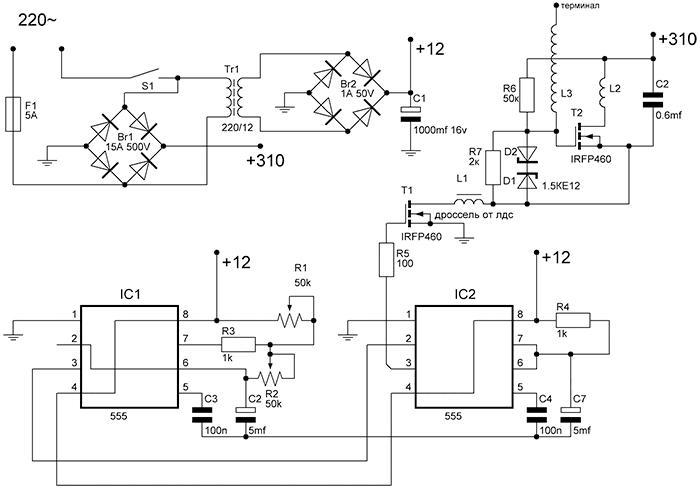на полевом транзисторе с