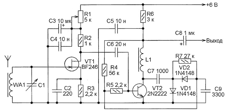 с базой транзистора VT2,