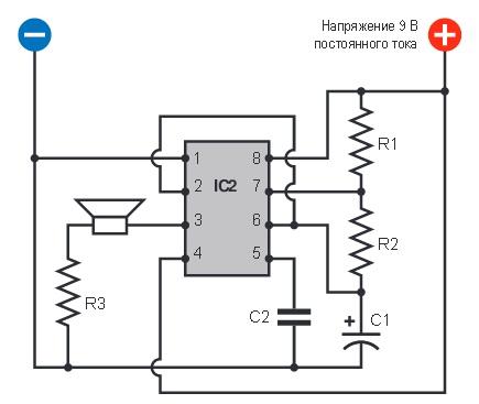 Схема звукового генератора на ne555: http://ttontw.appspot.com/shema-zvukovogo-generatora-na.html