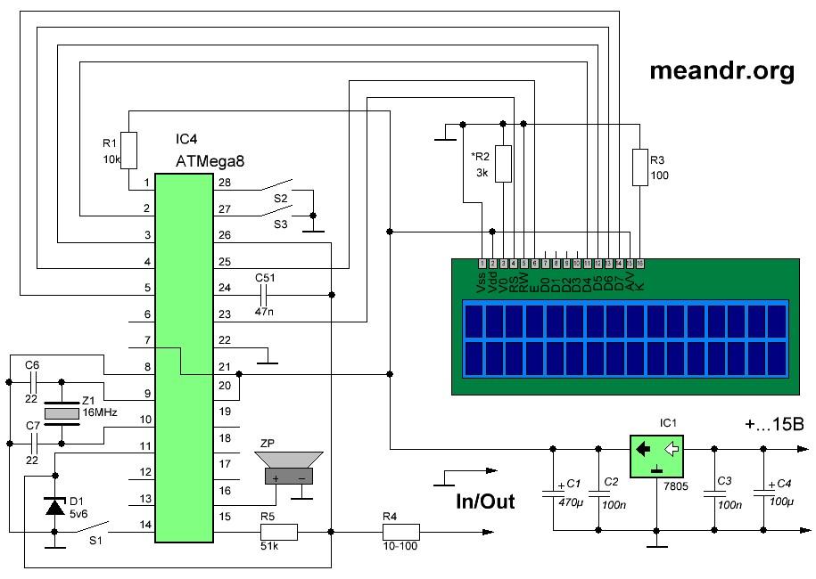 Принципиальная схема универсального измерительного прибора на микроконтроллере ATMega8