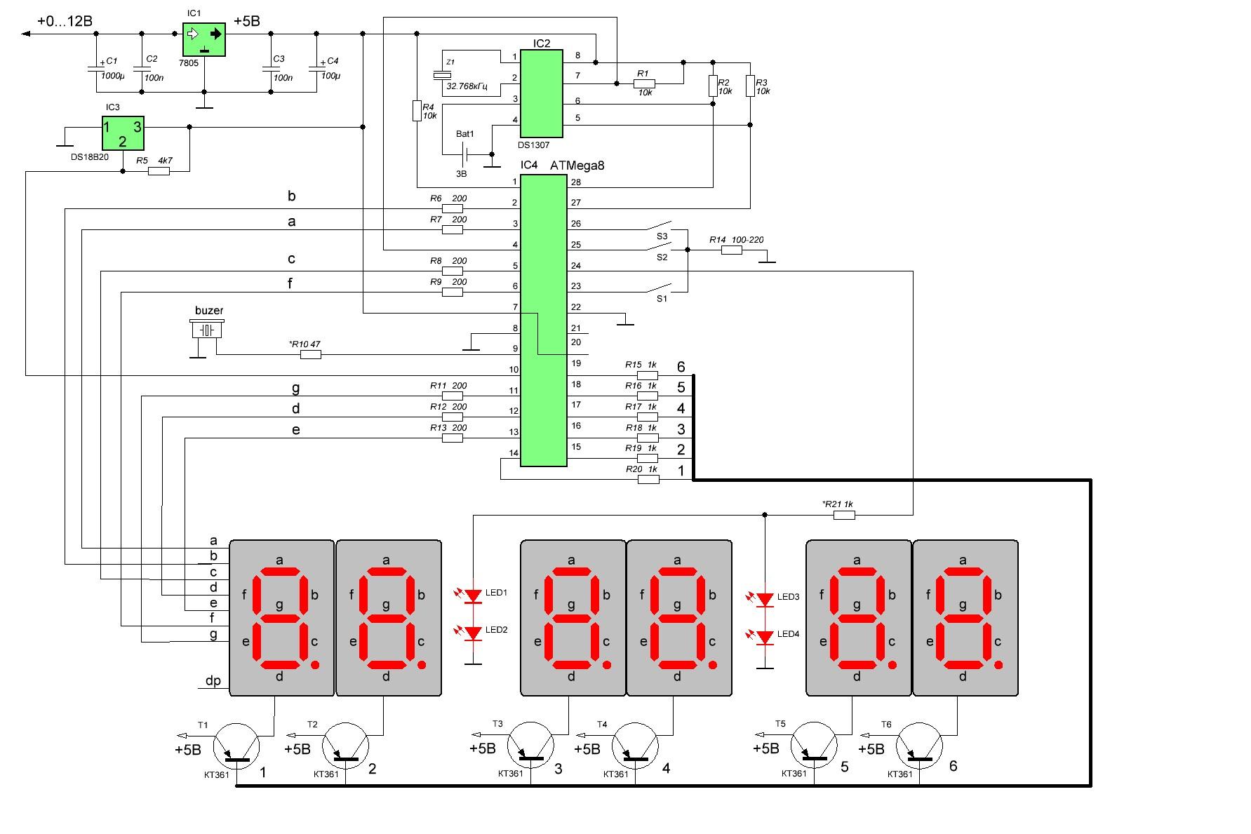 Схема часов-термометра