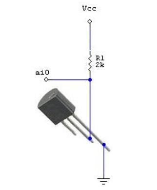 Рисунок 5. Схема подключения термодатчика