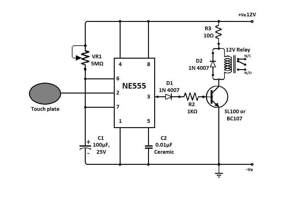 Сенсорный датчик прикосновения Схема и подробное описание