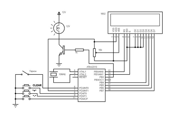 Принципиальная схема велоспидометра на микроконтроллере ATtiny2313