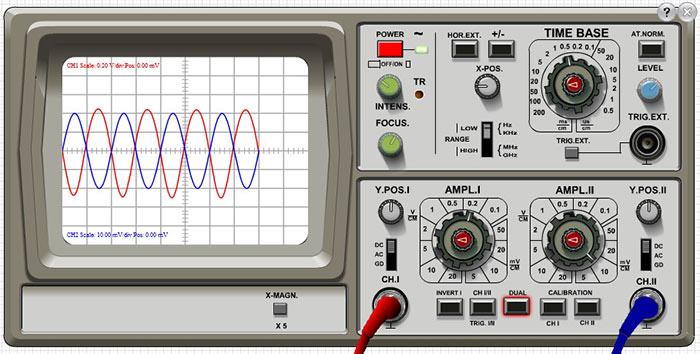 Панель виртуального осциллографа во DoCircuits