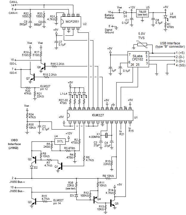 Электрическая схема elm327