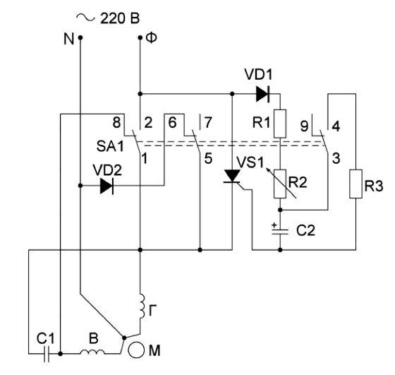 Пуск асинхронного однофазного двигателя
