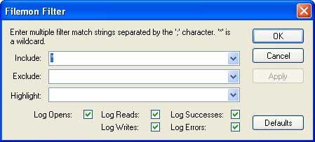 Рис. 2. Настройка фильтрации в утилите FileMon