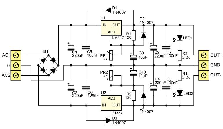 Einstellbare symmetrische Stromversorgung
