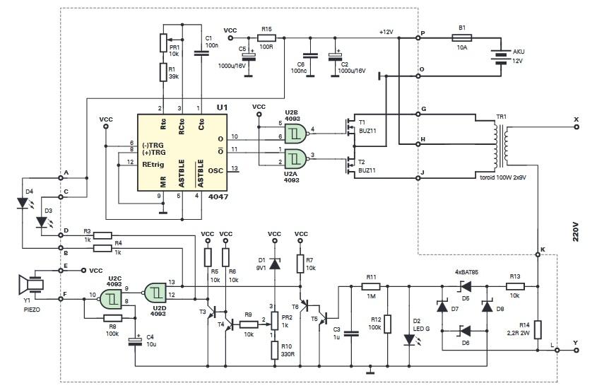 Преобразователь напряжения (12/∼220В) со звуковой и световой индикацией