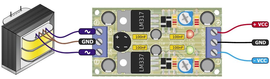Adjustable symmetrical power supply